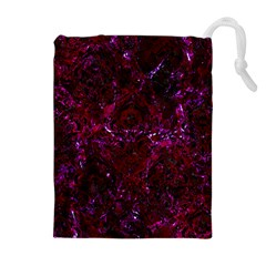 Damask1 Black Marble & Burgundy Marble (r) Drawstring Pouches (extra Large)