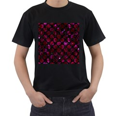 Circles2 Black Marble & Burgundy Marble Men s T Shirt (black) (two Sided)