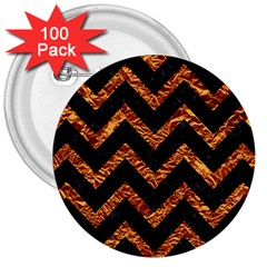 Chevron9 Black Marble & Copper Foil 3  Buttons (100 Pack)