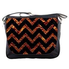Chevron9 Black Marble & Copper Foil Messenger Bags