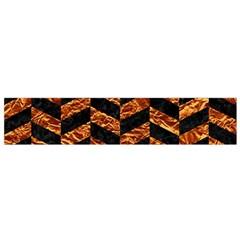 Chevron1 Black Marble & Copper Foil Flano Scarf (small)