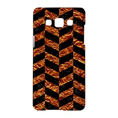 Chevron1 Black Marble & Copper Foil Samsung Galaxy A5 Hardshell Case