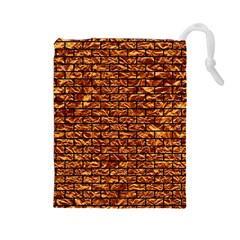 Brick1 Black Marble & Copper Foil (r) Drawstring Pouches (large)