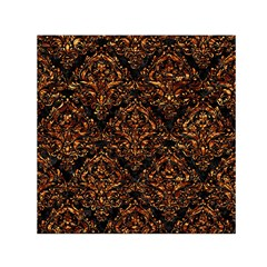 Damask1 Black Marble & Copper Foil Small Satin Scarf (square)