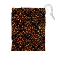 Damask1 Black Marble & Copper Foil Drawstring Pouches (extra Large)