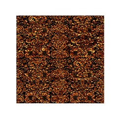 Damask2 Black Marble & Copper Foil Small Satin Scarf (square)