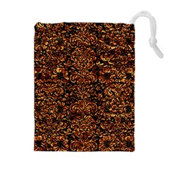 Damask2 Black Marble & Copper Foil Drawstring Pouches (extra Large)