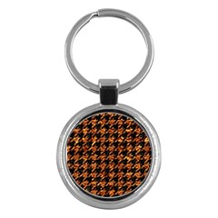 Houndstooth1 Black Marble & Copper Foil Key Chains (round)
