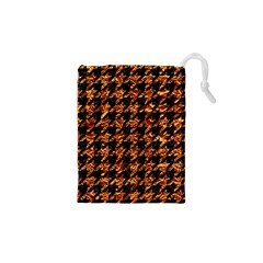 Houndstooth1 Black Marble & Copper Foil Drawstring Pouches (xs)