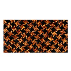 Houndstooth2 Black Marble & Copper Foil Satin Shawl