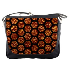 Hexagon2 Black Marble & Copper Foil (r) Messenger Bags
