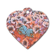 Dreamy Floral 4 Dog Tag Heart (one Side)