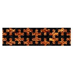 Puzzle1 Black Marble & Copper Foil Satin Scarf (oblong)