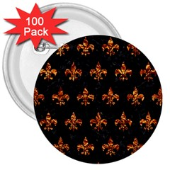 Royal1 Black Marble & Copper Foil (r) 3  Buttons (100 Pack)