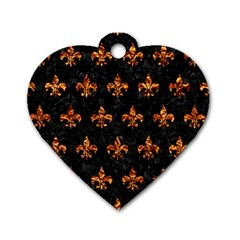 Royal1 Black Marble & Copper Foil (r) Dog Tag Heart (one Side)