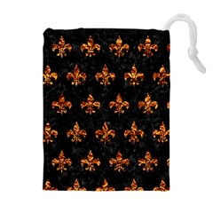 Royal1 Black Marble & Copper Foil (r) Drawstring Pouches (extra Large)