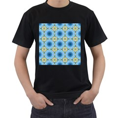 Blue Nice Daisy Flower Ang Yellow Squares Men s T Shirt (black) (two Sided)