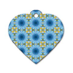Blue Nice Daisy Flower Ang Yellow Squares Dog Tag Heart (two Sides)