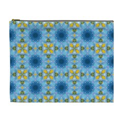 Blue Nice Daisy Flower Ang Yellow Squares Cosmetic Bag (xl)