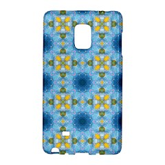 Blue Nice Daisy Flower Ang Yellow Squares Galaxy Note Edge