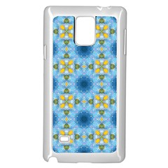 Blue Nice Daisy Flower Ang Yellow Squares Samsung Galaxy Note 4 Case (white)