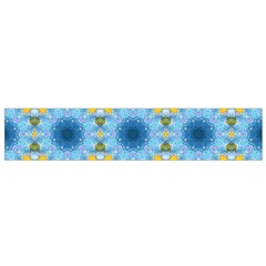 Blue Nice Daisy Flower Ang Yellow Squares Flano Scarf (small)