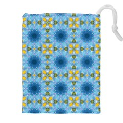 Blue Nice Daisy Flower Ang Yellow Squares Drawstring Pouches (xxl)