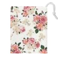 Pink And White Flowers  Drawstring Pouches (xxl)