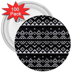 Aztec Influence Pattern 3  Buttons (100 Pack)