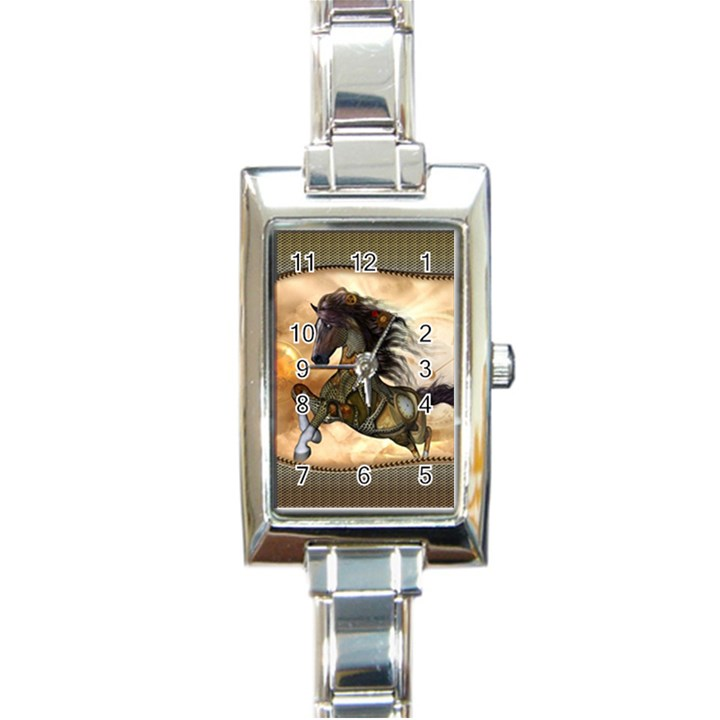 Steampunk, Wonderful Steampunk Horse With Clocks And Gears, Golden Design Rectangle Italian Charm Watch