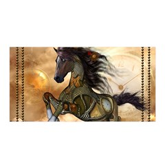 Steampunk, Wonderful Steampunk Horse With Clocks And Gears, Golden Design Satin Wrap