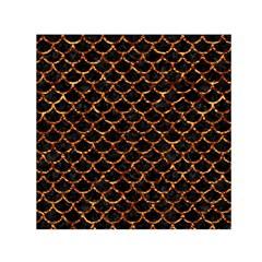 Scales1 Black Marble & Copper Foil Small Satin Scarf (square)