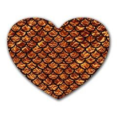 Scales1 Black Marble & Copper Foil (r) Heart Mousepads