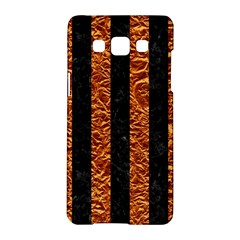 Stripes1 Black Marble & Copper Foil Samsung Galaxy A5 Hardshell Case