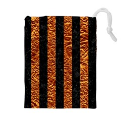 Stripes1 Black Marble & Copper Foil Drawstring Pouches (extra Large)