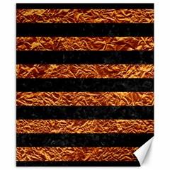 Stripes2 Black Marble & Copper Foil Canvas 8  X 10