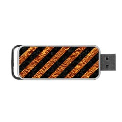 Stripes3 Black Marble & Copper Foil Portable Usb Flash (one Side)