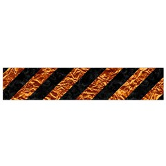 Stripes3 Black Marble & Copper Foil Flano Scarf (small)