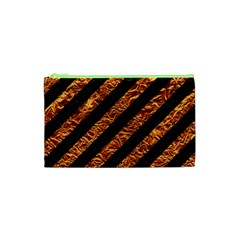 Stripes3 Black Marble & Copper Foil Cosmetic Bag (xs)