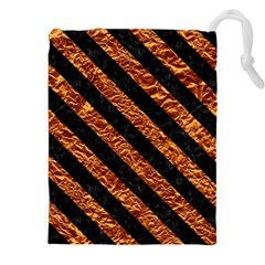 Stripes3 Black Marble & Copper Foil (r) Drawstring Pouches (xxl)