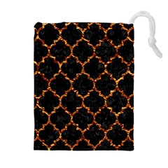 Tile1 Black Marble & Copper Foil Drawstring Pouches (extra Large)