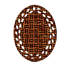Woven1 Black Marble & Copper Foil (r) Oval Filigree Ornament (two Sides)