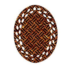 Woven2 Black Marble & Copper Foil (r) Oval Filigree Ornament (two Sides)