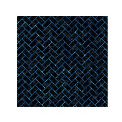 Brick2 Black Marble & Deep Blue Water Small Satin Scarf (square)