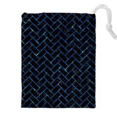 Brick2 Black Marble & Deep Blue Water Drawstring Pouches (xxl)