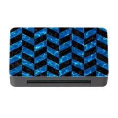 Chevron1 Black Marble & Deep Blue Water Memory Card Reader With Cf