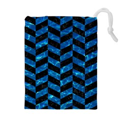 Chevron1 Black Marble & Deep Blue Water Drawstring Pouches (extra Large)