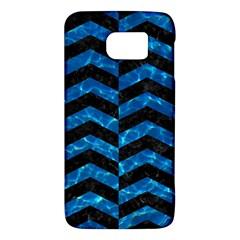 Chevron2 Black Marble & Deep Blue Water Galaxy S6