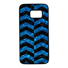 Chevron2 Black Marble & Deep Blue Water Samsung Galaxy S7 Black Seamless Case