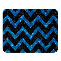Chevron9 Black Marble & Deep Blue Water Double Sided Flano Blanket (large)